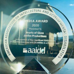 AAIDD award-glass circle with small pyramid base